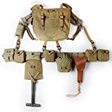 ZWJPW WW2 US ARMY EQUIPMENT COMBINATION M36 BAG X-STRAPS BELT T-SPADES WITH COVER 1911 HOLSTER KETTLE