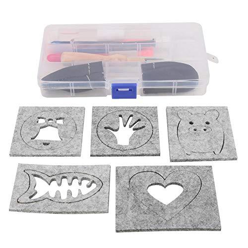 HEEPDD viltstift-set voor naaldviltstiften met 5 poke-modellen, schaar, gereedschapskist, bewaarset, doe-het-zelf accessoires voor handwerk