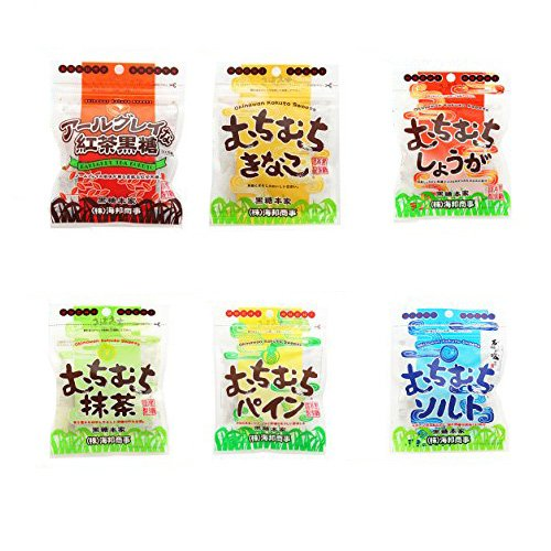 むちむちシリーズ 6種セット(ソルト・紅茶・パイン・抹茶・しょうが・きなこ) 37g×各2袋 海邦商事 なめらかモチモチ食感の新黒糖菓子 沖縄土産におすすめ