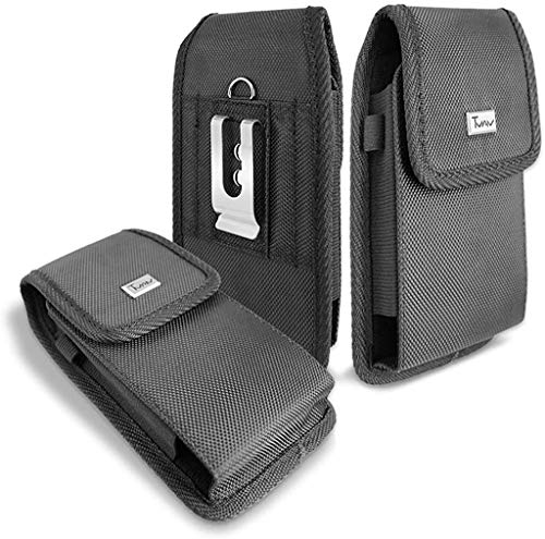 TMAN Samsung Galaxy A21 Heavy Duty Rugged Nylon Canvases Vertical Smart Phone Case / Pouch / Holster w Metal Belt Clip for Samsung Galaxy A21 (XL Size Fit)