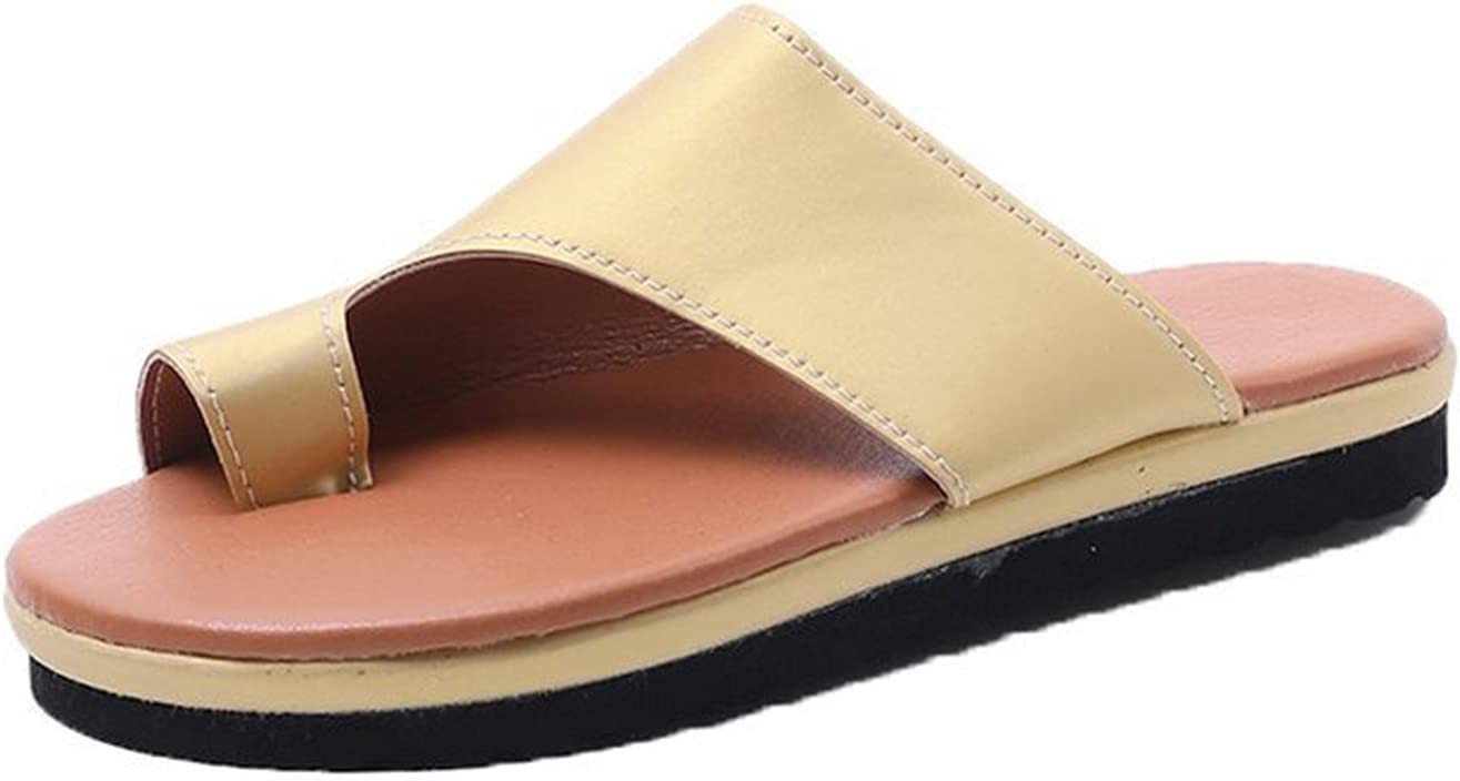 Bunion Correction Sandals,Bunion Sandals For Women,Comfy Non-Slip Pu Leather Flat Sandals,Casual Orthopedic Toe Ring Slides Flip Flops,Casual Toe Separate Flat Shoes with Arch Support (Beige,6)