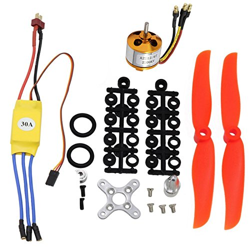 abcGoodefg 2200KV RC Brushless Motor 2212-6+ with 30A ESC Set + 6035 Propeller Free Mount Accessories Kit Mount for RC Plane Quadcopter Helicopter Aircraft (2200Kv Set)