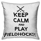 Funda de almohada de viaje cuadrada Hockey Keep Calm and Play Frase de hockey sobre césped en blanco y negro con palos y icono de pelota Fundas de cojín en blanco y negro Fundas de almohada para sofá