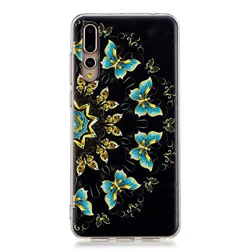 Robinsoni Funda Compatible con Huawei P20 Pro Brillo Suave Silicona TPU Gel Goma Funda con Flexible Ultra Suave Transparente Caja Ultra Delgada Carcasa Bumper Protective Shell, Mariposas