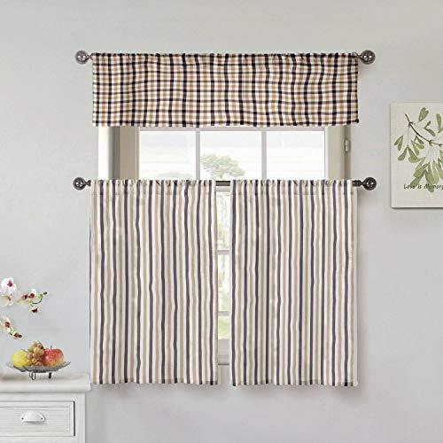 Home Maison Fini 3-teiliges Küchenvorhang- und Etagen-Set, 58 x 15 cm, 29 x 36 cm, Mokka-Schokolade