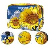 Bolsas de cosméticos impermeables, bolsas de cosméticos de girasol, flores de flores, bolsas de maquillaje multifuncionales, organizador de bolsas de cosméticos de viaje para mujeres
