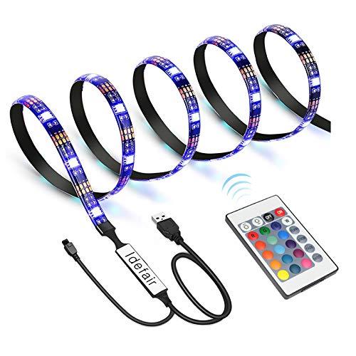 Idefair TV - Tira de luces LED, USB LED,impermeable,retroiluminación de TV, RGB,juego de tiras de colores cambiantes para TV,PC de escritorio,pecera,decoración,gabinetes de cocina para el hogar, bar
