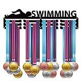 CREATCABIN Nuoto Immagine Nuotatore Porta Medaglie Espositore per Medaglie Montaggio A Parete Appendiabiti Decor Porta Medaglie per Corridori per La Casa Porta Badge 3 piolo Medaglia su 60 medaglie