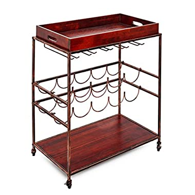 Old Dutch  Avalon  Wine and Serving Cart, Antique Copper/Rosewood, 28  x 16  x 32