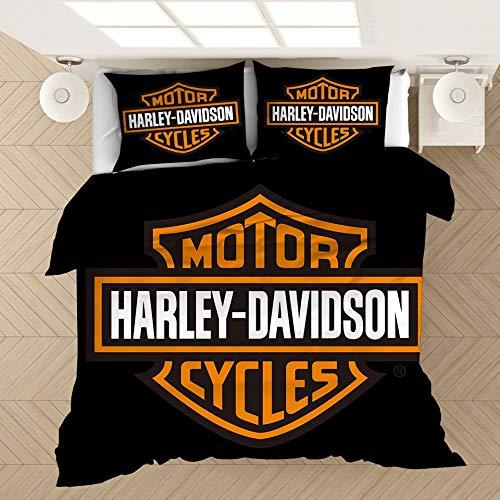 LXFDZ 3 Stück Bettbezug-Set Harley-Davidson Haushalt Bettwäsche-Sets, 3D-Anime 100% Mikrofaser 1 Bettbezug + 2 Kissen- Drucke (Color : A, Size : US Queen228x228cm)