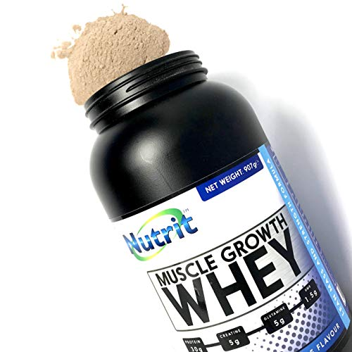 Protein Powder with Creatine, Glutamine, and HMB to Boost Recovery and Performances. Designed for Lean Mass & Strength. Muscle Growth Whey by NUTRIT - Smooth & Delicious Coconut Flavour (907g)