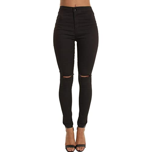 6739af611f45b New Ladies Skinny High Waisted Tube Jeans Jeggings Stretch Denim Knee  Ripped Cut Out UK Size