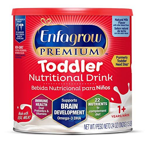 Enfagrow PREMIUM Toddler Nutritional Drink, Natural Milk Flavor, Omega-3 DHA for Brain Support, Prebiotics & Vitamins for Immune Health, Non-GMO, Powder Can, 24 Oz