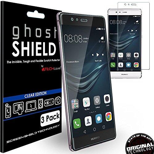 TECHGEAR [3 Piezas Protector de Pantalla Compatible con Huawei P9 Plus [ghostSHIELD] Reforzada Flexible TPU Protector de Pantalla con Cobertura de Pantalla Completa inclusiva Pantalla Curva