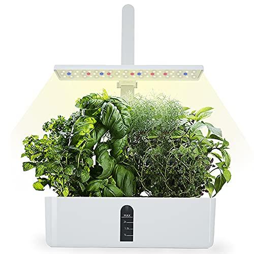 Sistema de Cultivo hidropónico, Jardinera de Interior de Hierbas con luz de Crecimiento LED, Smart Garden con vainas, Altura Ajustable, Kits de Germinación Inteligente para Casera,
