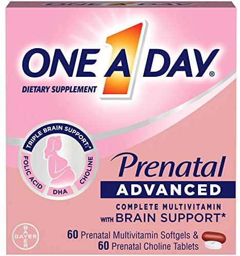 One A Day Women's Prenatal Advanced Complete Multivitamin with Brain Support* with Choline, Folic Acid, Omega-3 DHA & Iron for Pre, During and Post Pregnancy, 60+60 Count (120 Count Total Set)