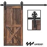 WINSOON 5-16FT Single Wood Sliding Barn Door Hardware Basic Black Big Spoke Wheel Roller Kit Garage Closet Carbon Steel Flat Track System (10FT)
