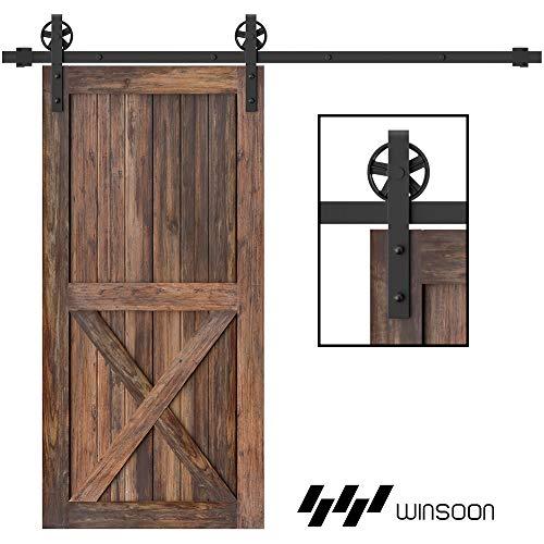 WINSOON 200cm Scheunenholz Tür Hardware Schrank Kit für Einzeltür Basic Black Big Spoke Wheel Roller Kit Carbon Steel Flat Track System