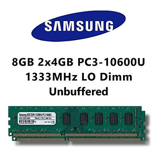 Samsung 8GB (2x 4GB) Dual-Channel Kit DDR3 1333MHz (PC3 10600U) LO Dimm Computer PC Desktop RAM Memory