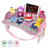 Erlsig Kids Travel Tray Car Seat Activity and Play Tray Organizer for Children and Toddlers Lap Desk with Tablet Phone Holder Waterproof and Foldable - Pink