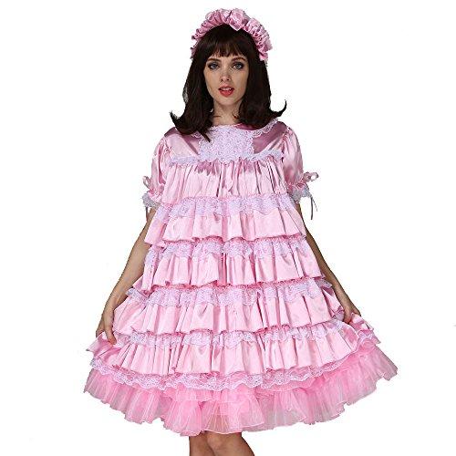 GOceBaby Adult Baby Sissy Girl Maid Satin Lockable Dress Costume Crossdress (3X-Large) Pink