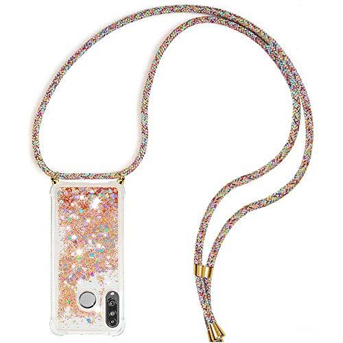 Handykette Handyhülle mit Band für Huawei P30 Lite Cover - Handy-Kette Handy Hülle mit Kordel Umhängen -Handy Halsband Lanyard Hülle/Handy Band Halsband Necklace