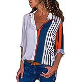 Damen Bluse V-Ausschnitt Elegant Langarm Shirt Casual Loose Shirt Tops Damen Hemd S-XXL (M, Mehrfarbig Streifen-3)