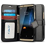 J&D Case Compatible for ZTE Axon 7 Case, Wallet Stand Slim Fit Heavy Duty Protective Shock Resistant Flip Cover Wallet Case for ZTE Axon 7 Wallet Case, Not for ZTE Axon 7 Mini, Black
