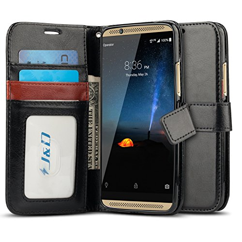 J&D Case Compatible for ZTE Axon 7 Case, [Wallet Stand] [Slim Fit] Heavy Duty Protective Shock Resistant Flip Cover Wallet Case for ZTE Axon 7 Wallet Case - [Not for ZTE Axon 7 Mini] - Black