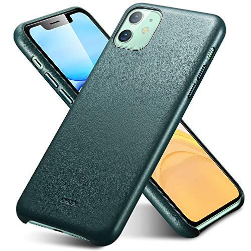 ESR Premium Real Leather Designed for iPhone 11 Case, Slim Full Leather Phone Case [Supports Wireless Charging] [Scratch-Resistant] Protective Case for iPhone 11, Green