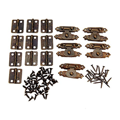 AIGUO 10 Pcs Antique Bronze Furniture Cabinet Hinge 16×13mm/0.63×0.51in+ 5 Pcs Jewelry Wooden Box Switching Hasp 26×15mm/1.02×0.59in, Retro Hardware Accessories