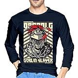 Go-Blin Anime Slayer - Camiseta de manga larga para hombre, estilo informal, 100% algodón, cuello redondo, manga larga, cómoda y cómoda impresión, azul marino, M