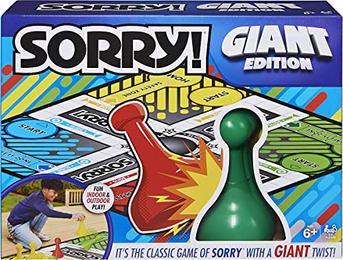 family board games Sorry Giant Edition Family Board Game, for Ages 6 & up, Indoor Outdoor Game