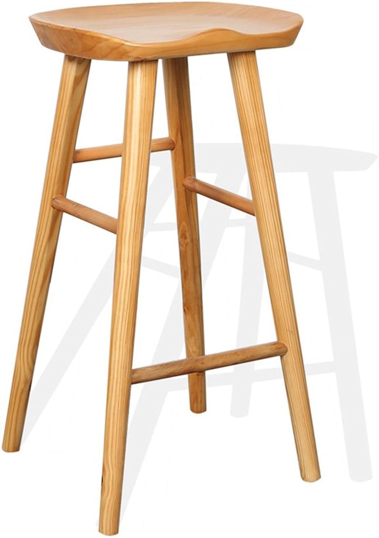 FFLSDR Bar Stools All Solid Wood European Front Desk Bar Chair Bar Stool Modern Minimalist American Home High Stool (Size   H55cm)
