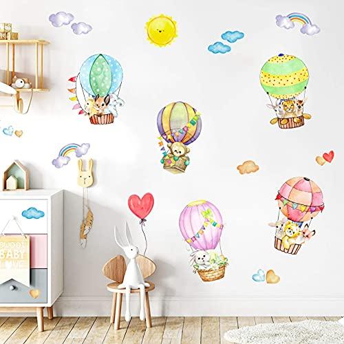 ANHUIB 40 Pezzi Animali Adesivi Murali,Colorato Mongolfiera Adesivi Murali per Camera Bambini,Acquerello Adesivo Murale Palloncini,DIY Adesivi da Parete Animali Bosco per Asilo Nido Camera da Letto