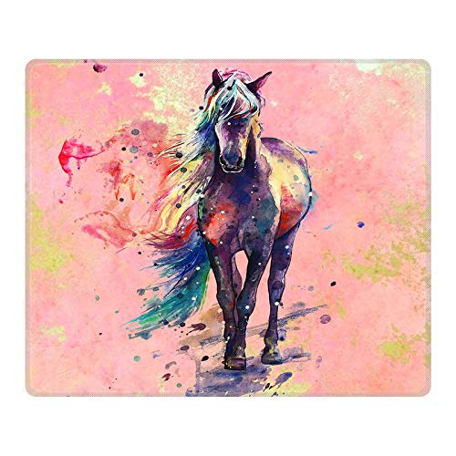 POKABOO Mouse Pad - Cute Mouse Pad Mat for Laptop Cosmos Dancing Non-Slip Rubber Stitched Edges Working Gaming Mouse Pads for Kids/Boys/Girls/Adults(Rectangle 240x200x3mm) (Horse)