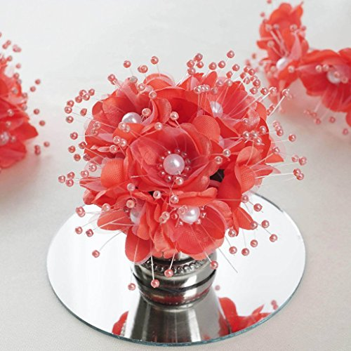 BalsaCircle 72 Coral Faux Pearl Craft Beaded Flowers - Mini Flowers for DIY Wedding Birthday Party Favors Decorations Supplies