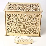 ChezMax Wedding Card Box with Lock DIY Gift Card Holder Box Wooden Hollow Money Box for Wedding Reception Birthday Baby Shower Party Decorative Box
