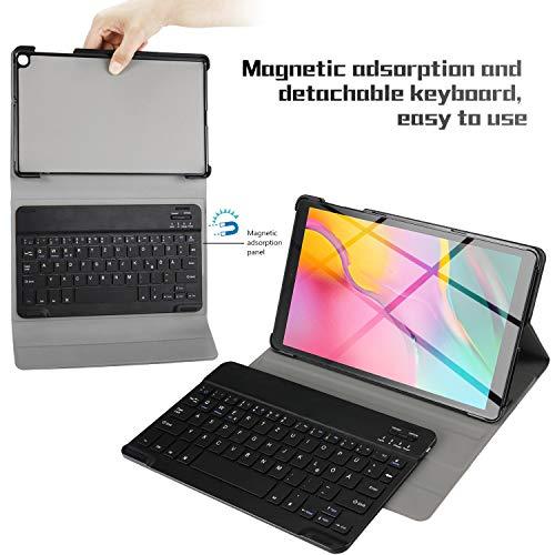 IVSO Tastatur Hülle für Samsung Galaxy Tab A 10.1 2019 T515/T510, [QWERTZ Deutsches], Ultradünn Schutzhülle mit magnetisch abnehmbar Tastatur für Samsung Galaxy Tab A 2019 T515/T510 10.1, Schwarz