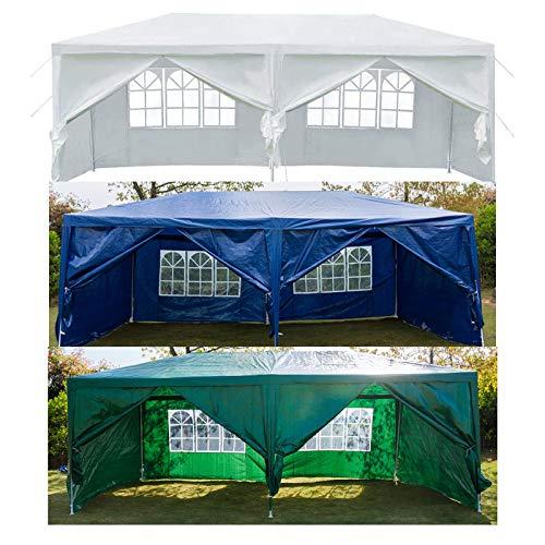 Huini 3x6m Pavillon mit 6 Seitenwänden Festival Sonnenschutz Zelt Ideal für Garten Terrasse Grill Partys, Einfache Installation (Grün)