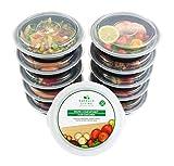  10 pack  Rund 1 fach Meal Prep Container. Frischhaltedosen Bento-Box Set mit Deckel. Spülmaschine, Mikrowelle, Gefrierschrank safe. BPA-frei Frishchalteboxen aus Kunststoff + eBook [680mL]