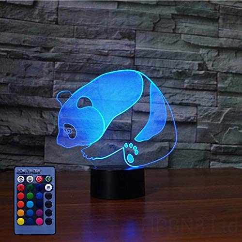3D Panda Night Light USB Powered Remote Control Touch Switch Decor Table Optical Illusion Lamps 7/16 Color Changing Lights LED Table Lamp Xmas Home Love Brithday Children Kids Decor Toy Gift