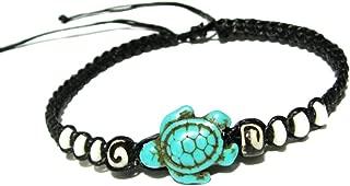Sea Turtle Hemp Bracelet - Hawaiian Craftier Turquoise Tortoise Adjustable Wristband for Women - White Bead Macrame Cotton