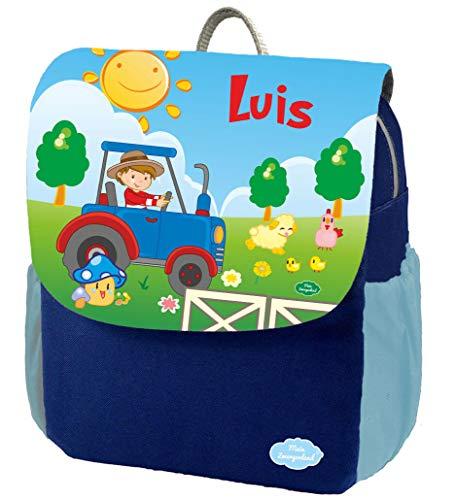 Mein Zwergenland Kindergartenrucksack Happy Knirps NEXT Print mit Name Traktor, 6L, Blau
