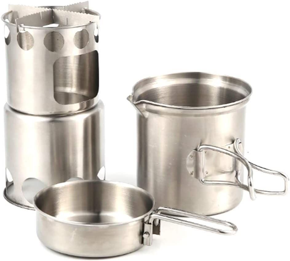 ZUZU Babe Camping Cookware Pot or Stove Set Hiking Stainless Steel Portable Campfire Backpacking Accessories for Outdoor Cooking Traveling and Picnic BBQ.
