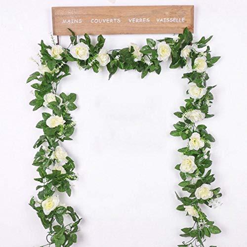 Zijde kunstroos wijnstok hangende bloemen voor wanddecoratie rotan nep planten laat slinger romantische bruiloft woondecoratie, wit
