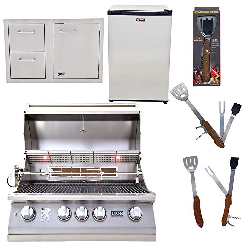 Lion Premium Grills 32-Inch Natural Gas Grill L75000 with Lion Door and Drawer Combo with Towel Rack and Lion Refrigerator Package Deal with 5 in 1 BBQ Tool Set