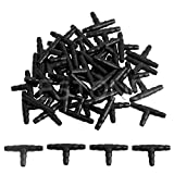 Gwxevce 50pcs Riego por aspersión 4 / 7mm T-Pipe Barb Hose Connector Joiner Drip System Black