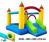 Izzy Hüpfburg Bogen Komplett-Set Outdoor aufblasbar Gebläse 250W Springburg Spielburg Rutsche Draußen Kinder-Party Spring-Schloss Bouncer (XXXL Super Castle - 305x230x218cm)
