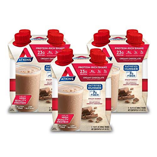 Atkins Meal Size Creamy Chocolate Protein-Rich Shake. With High-Quality Protein. Keto-Friendly and Gluten Free. (12 Shakes)
